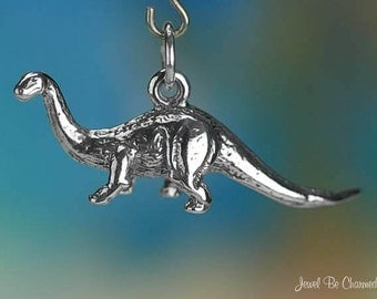 Sterling Silver Brontosaurus Charm Apatosaurus Dinosaur 3D Solid .925