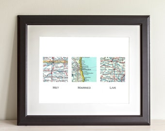 CUSTOM Three Square Map Art Print. Print Only. You Select Locations Worldwide And Personaized Text. Wedding. Anniversary. Gifts For Groom.