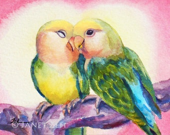 Love Birds Art Print Watercolor Lovebird Wall Decor Couples Gift Anniversary Gift by Janet Zeh