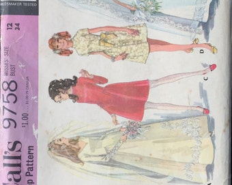 Vintage McCall's pattern 9758  wedding dress and bridesmaid dress from the 1960s