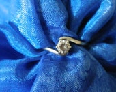 White Gold Vintage CZ engagement ring  unusual design statement ring  UK size K USA size 5 12 Stamped 375