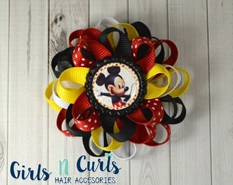 Boutique Style Loopy Flower Girls Hairbow Mickey Mouse