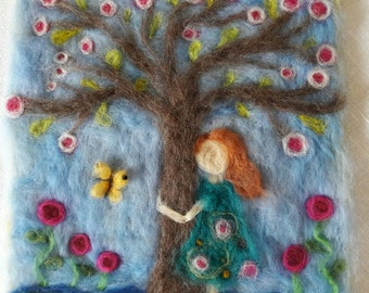 Waldorf inspired wool felt picture--In LOVE with spring--girl hugging tree