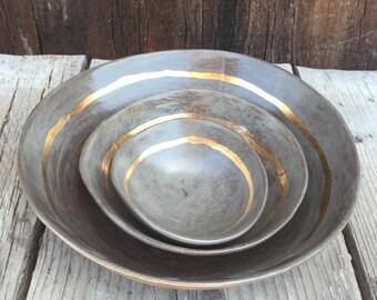 Wedding gift nesting set bowls handmade ceramic  salad dip pasta bowl in gray and 22k gold accent