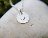 SALE, Sterling silver initial necklace, Personalized Necklace, Custom letter, Hand Stamped initial Necklace, Hammered Necklace, Any Letter