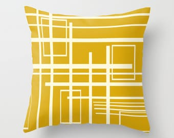 Decorative  Pillow Cover, Modern Pillow Cover, Yellow Pillow Cover, MidCentury Modern Pillow Cover, Retro Pillow Cover, Mod Pillow Cover