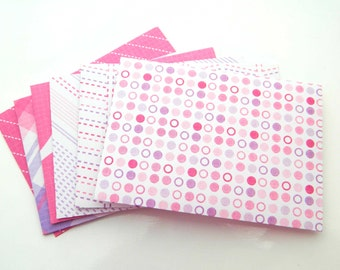 Small Envelopes, Handmade Gift Envelopes. Set of 6, Thank You Note Envelopes. Pink White Figure Gift Card Envelopes, Baby Shower Party Favor
