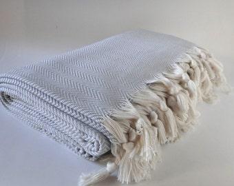 throw blanket, quine size cotton bed throw, light gray chevron blanket, bed cover, blanket, 100% cotton throw, turkish cotton blanket