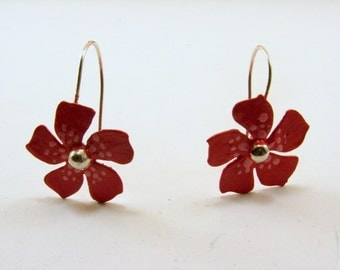 Red and Pink Sterling Silver Flower Earrings, Flower Earrings, Patina Earrings