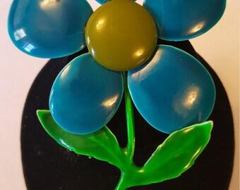 Vintage Five Petal Enamel Flower Brooch