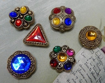 6 Colorful Jeweled Button Covers    NBL11