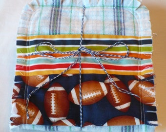 Baby Boy Burp Cloth Set of 3 - Play Ball Sports Football in Navy Green and Sky Blue Plaid with Chenille Rag Quilted