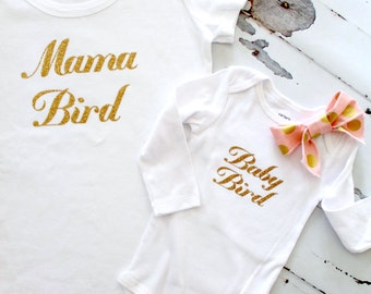 Mommy and Me, Mother Daughter Match Shirt, Mama Bird & Baby Bird. Black or Gold Letters on a Tee, Tank Top or Bodysuit, mom life
