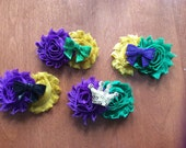 Mardi Gras Themed Shabby Flowers Hair Clips (Choose your combination)