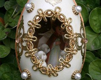 Vintage Duck Egg Shell Christmas Diorama Jewels Jeweled Scene Fabergé Style Velvet Orange Metalic Trim Embellished Decorated Egg Lambs Sheep