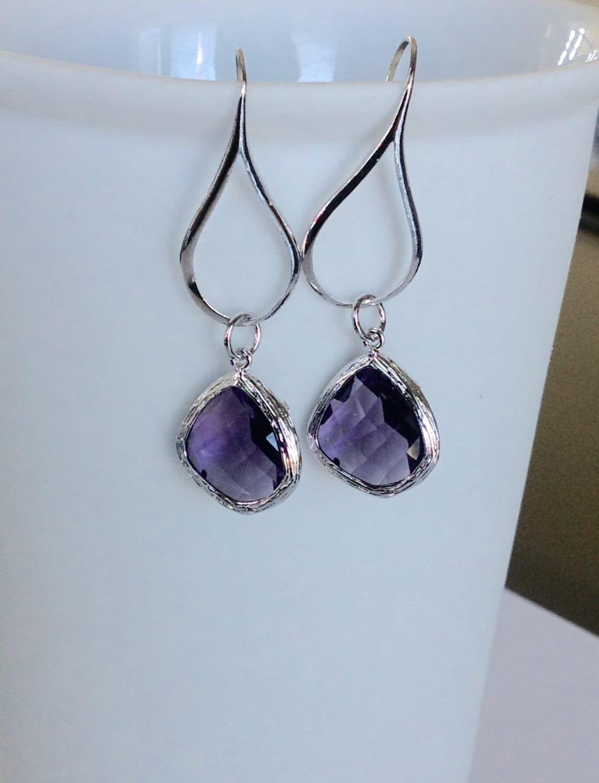 bridesmaid purple earrings purple bridesmaid earrings