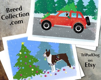 Brown Boston Terrier Christmas Cards from the Breed Collection - Digital Download  Printable