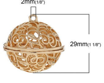 1pc. Gold Hollow Harmony Ball with Bell Charms Pendants - 29mm