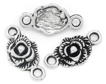 10pcs. Antique Silver Rose Roses Flower Flowers Charms Connectors Pendants - 19mm x 10mm