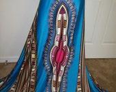 Turquoise Blue 4 way Stretch Dashiki Fabric panel 73x30 inches/Stretchy Angelina fabric/ Stretchy African fabric/ Dashiki leggings/ Swimwear