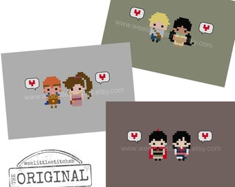 Storybook Romance Collection 3 - Pocahontas, Hercules, Mulan - The *Original* Pixel People Minis - PDF Cross-stitch Pattern