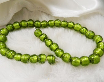 20 Lime Green Glass Silver Foil Beads, Round, Size Approximately 12mm, Lampwork Beads, Supplies