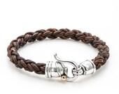 BRACELET BRAIDED LEATHER, silver clasps with 9k dot Gold, Bracelet  Sterling summer fashion, gift ideaerling Silver, Bracelet in handmade