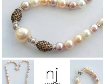 Natural multi colour freshwater pearl necklace ~ free shipping!