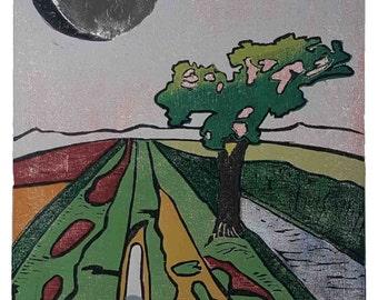 Holzschnitt Original Druck - #Silbermond über Teufelsmoor