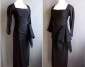 1950s black rayon crepe wiggle dress with BOW DRAMA marilyn monroe style 50s wiggle dress little black dress 50s lbd 1950s lbd