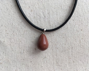 SALE Black leather choker necklace | Goldstone tear drop | other stones available | FREE gift wrapping