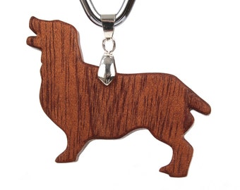 Wood Clumber Spaniel Pendant, Spaniel Necklace, Wooden Breed Dog Jewelry, Pet Memorial, Commemorative Dog Charm, Sapele