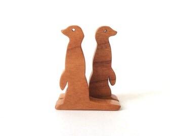 Wood Toy Meerkat Pair Miniature Noah's Ark Animals Miniature Meerkat Figurine Wooden Animal Toys
