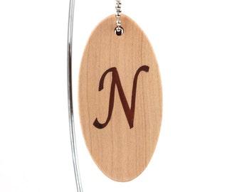 Personalized Initial Key Chain, Letter N Key Ring, Single Inital Key Fob, Wood Keychain,  Cherry