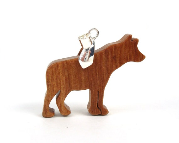 Hyena Necklace Wood African Animal Pendant Necklace Hand Cut Scroll Saw Pendant Cherry