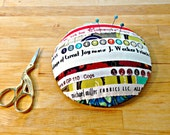 Pincushion, Selvage Pincushion, Upcycled Pincushion, Pattern Weight, Selvage, Sewing Tool, Sewing Gift, Sewing Room Decor