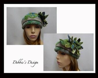 Women's Hand Beaded Cloche Hat-101 Women's Felted Cloche Green and Yellow Handmade Women's Cloche Hat, Women's Accessories, Women's Hats