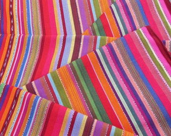 Guatemalan Fabric in Ardent Coral Stripe