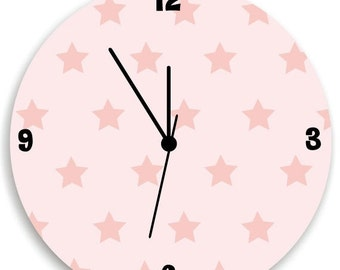 ON SALE Girls Bedroom Pink  Wall Clock, Stars Pattern and Pink Back Nursery Room Decor, Stars Kids Wall Clock