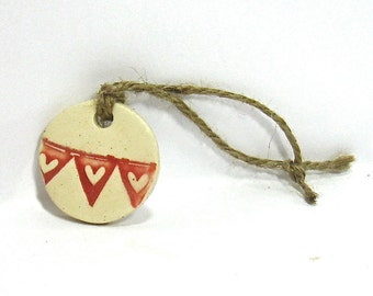 Ceramic Gift Tag, Ceramic Ornament - Red Banner Heart Tag / Wedding Favor, Banner Heart Ornament (OOAK Handmade Ceramic Ornament)