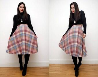 Vintage Plaid Tartan High Waist Midi Maxi Skirt