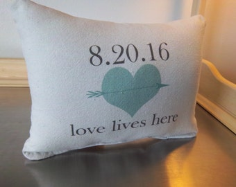 Personalized date pillow throw pillow second anniversary gift cotton love quote gift custom wedding gift quote cushion minimal home decor