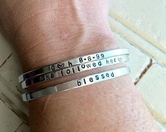 Sterling Silver Stamped Skinny Cuff Bracelets
