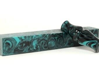 "Resin / Acrylic Pen Blank ... ""Opaque Black n Turquoise"" 61"