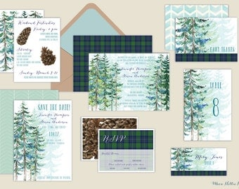 Rustic Pine Invitations - Watercolor Tree Wedding Invitations-Winter/Outdoors/Forest/Woodland/Conifer/Rustic/Nature Landscape