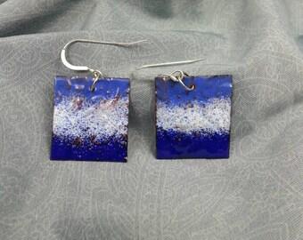 Embossed enameled copper earrings