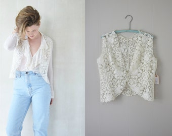 Antique Guipure Lace Vest | 1900s Lace Vest | Edwardian