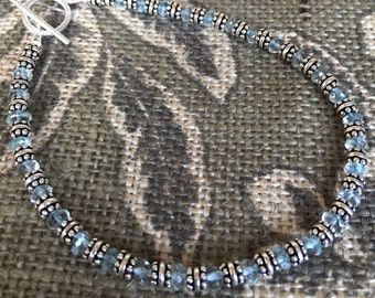 Aquamarine and Sterling Silver Bracelet