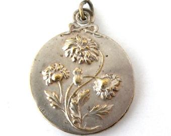 French slide locket ,art nouveau silver plated slide mirror locket , time worn treasure