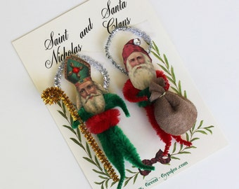 Santa Claus and St Nicholas Vintage Look Chenille Christmas Ornaments Set of Two